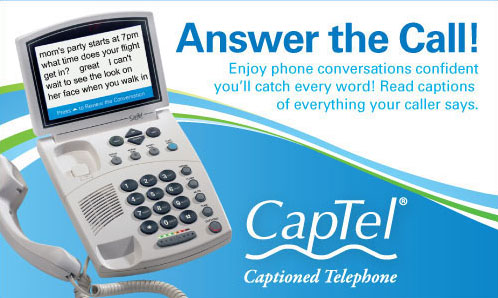 CapTel Captioned Telephone Hearing Loss Deaf Amplified Phone Captions
